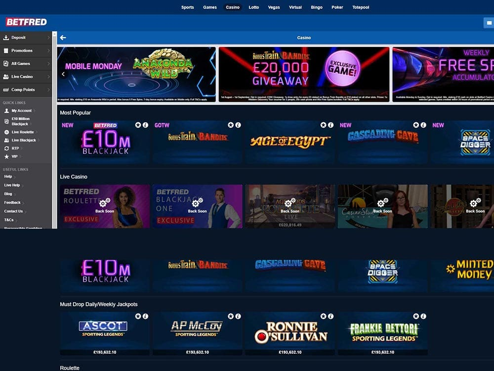 Betfred Casino Home Page