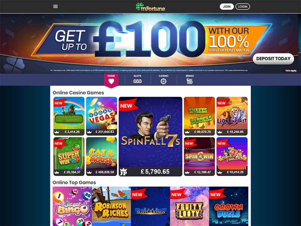 mFortune Casino Home Page