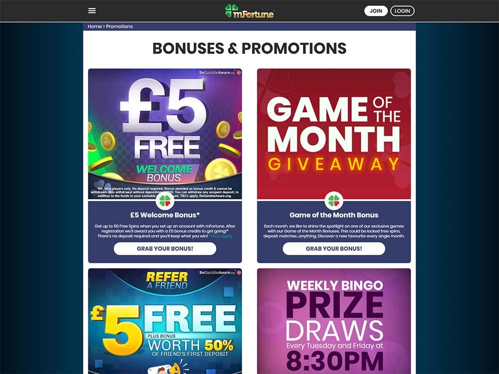 mFortune Casino Promotions