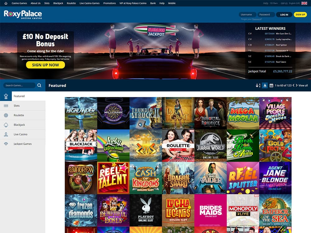 Roxy Palace Casino Home Page