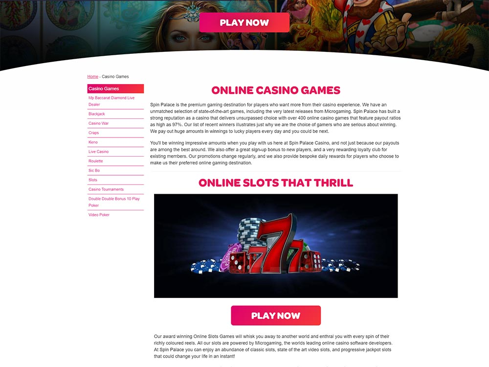 Spin Palace Casino Games List