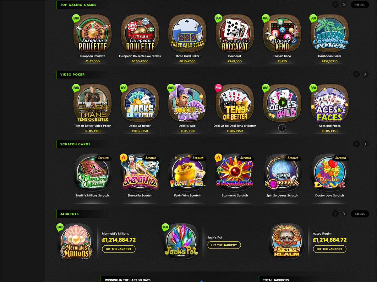 888 Casino Home Page