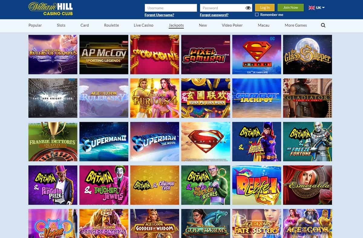 William Hill Casino Club Jackpot Games