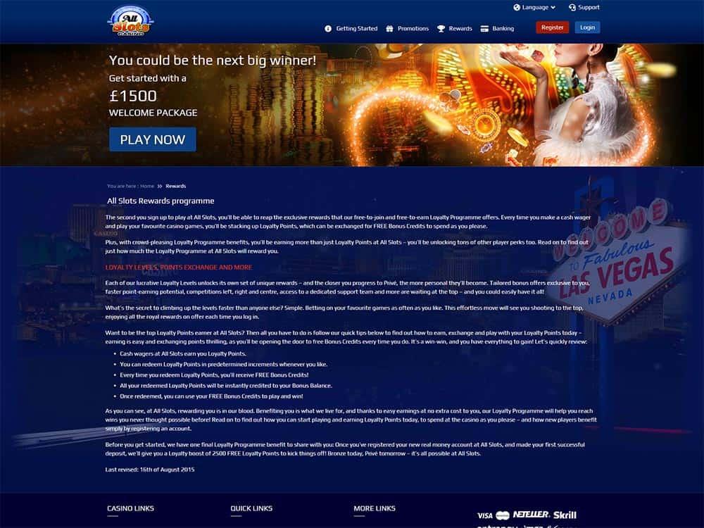 All Slots Casino Loyalty Scheme