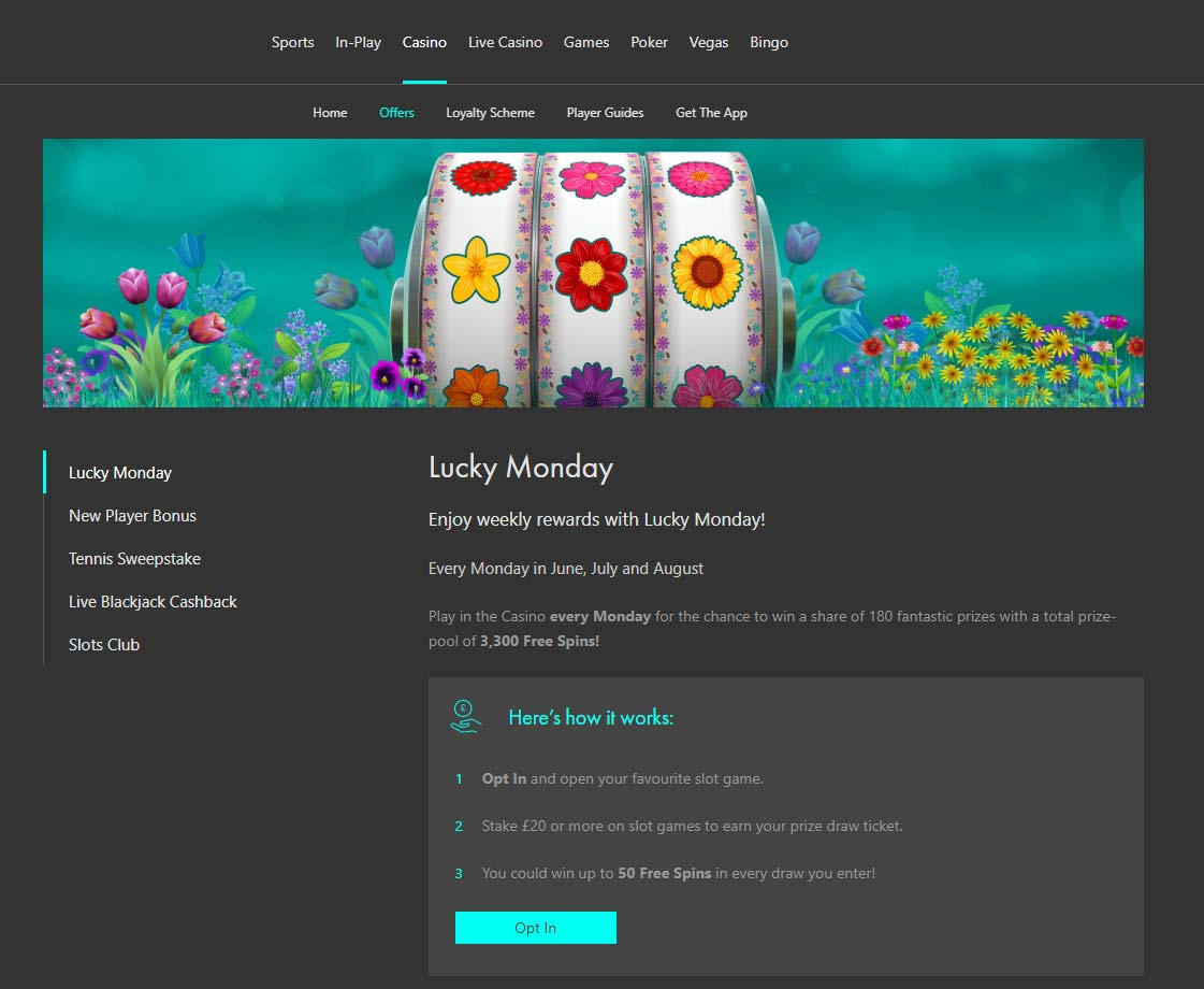 bet365 Casino Lucky Monday