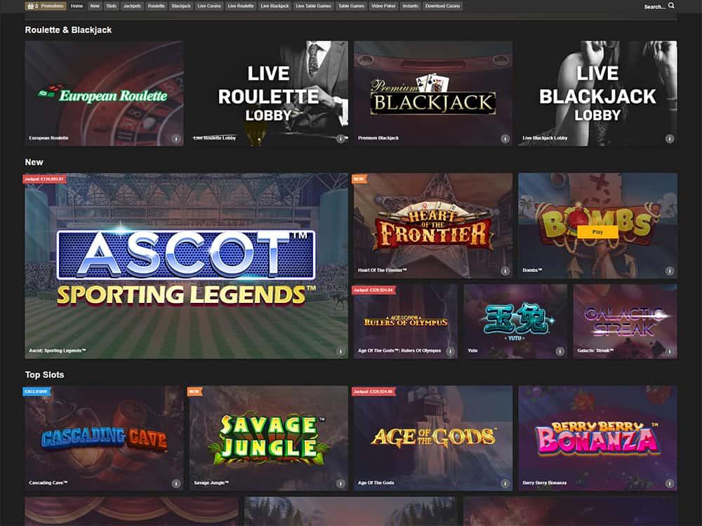 Betfair Casino Home Page