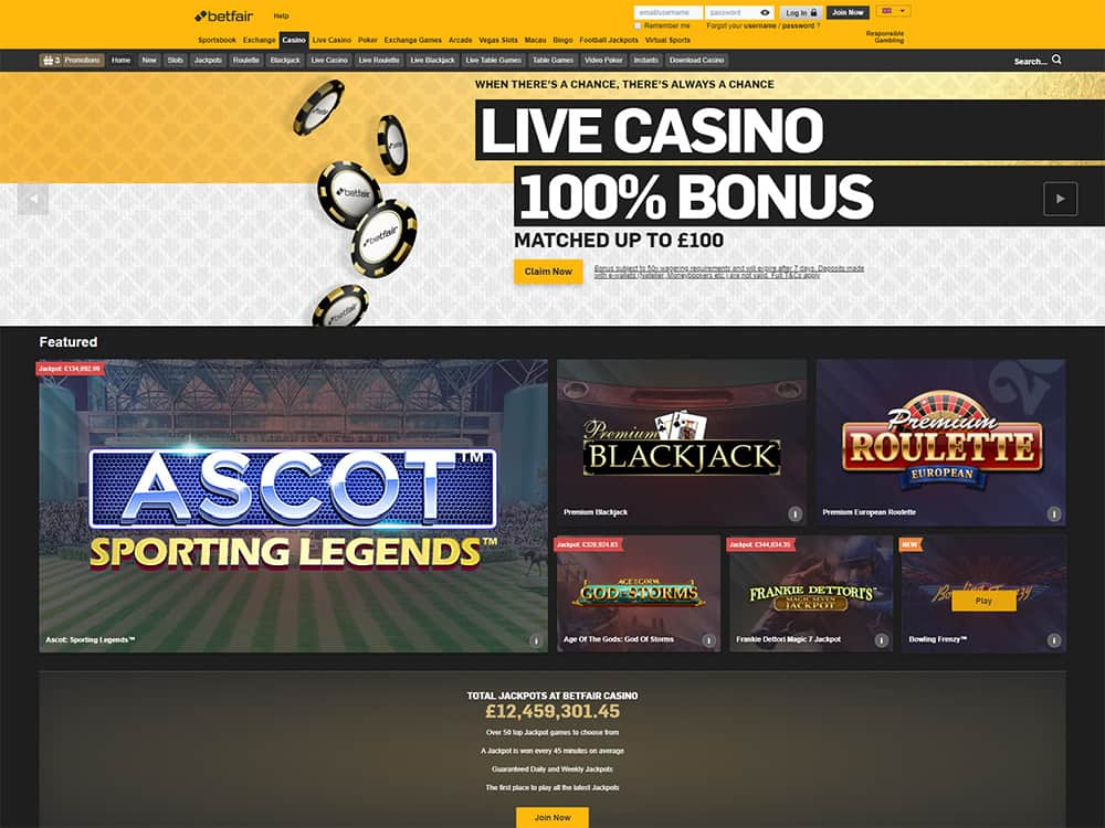 Betfair Casino Home Page