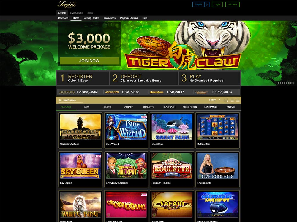 Casino Tropez Home Page