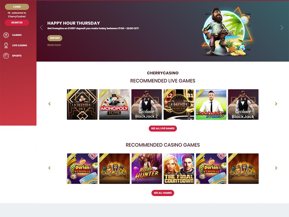 Cherry Casino Home Page