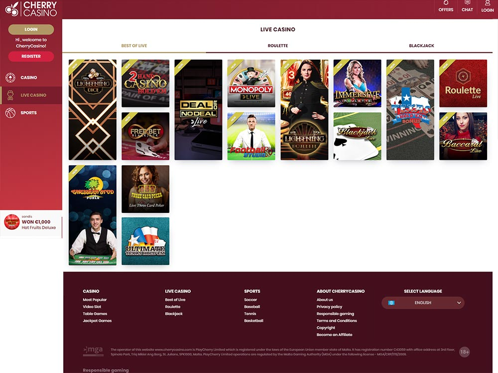 Cherry Casino Live Games