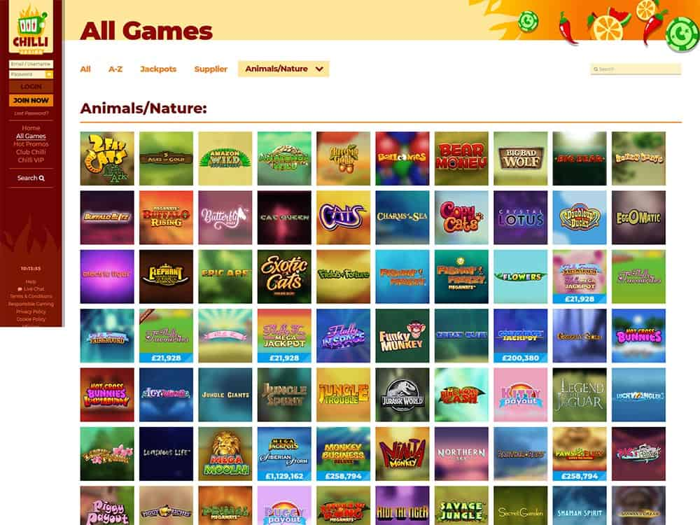 Chilli Casino Games List