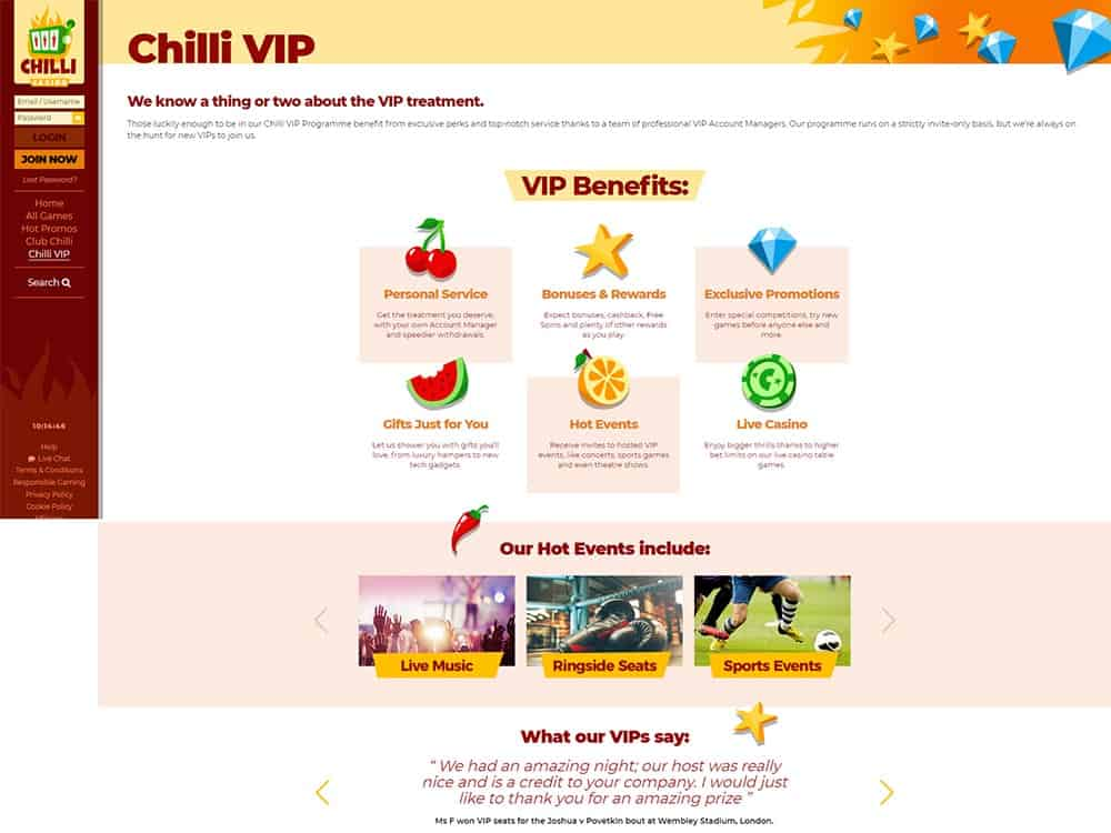 Chilli Casino VIP Club