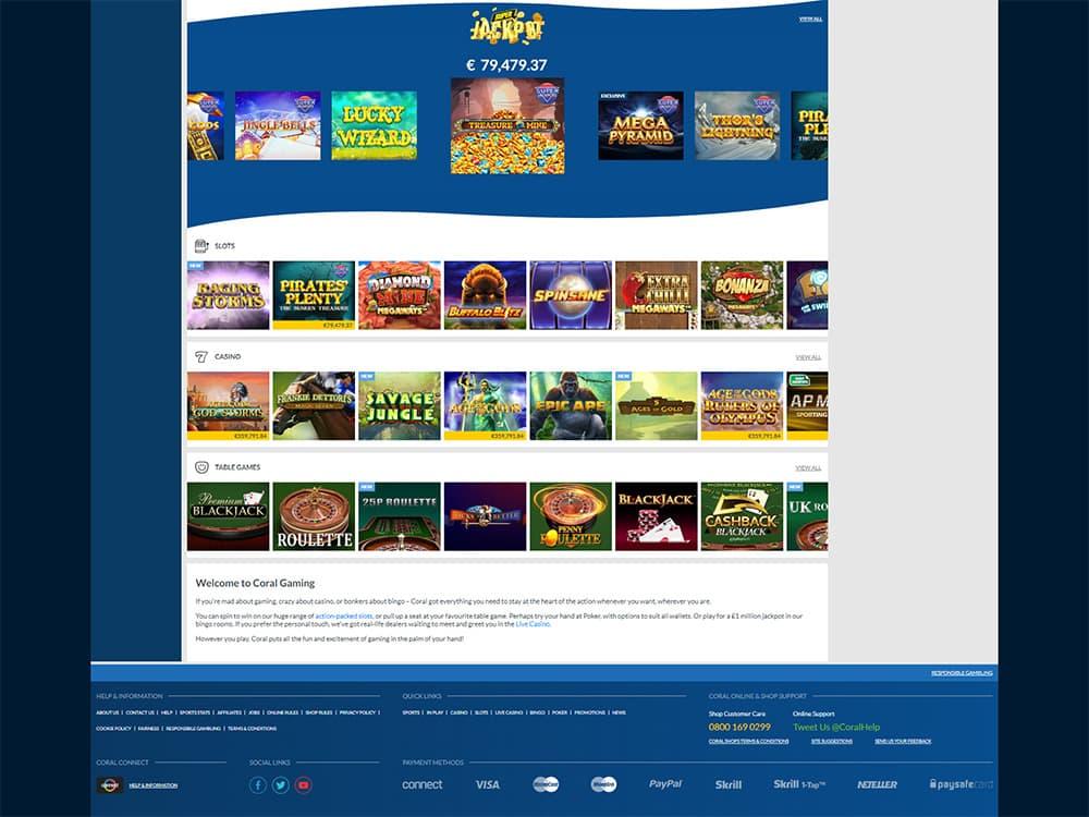 Coral Casino Home Page