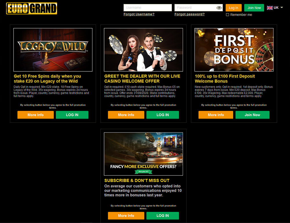 Eurogrand Promotions and Bonuses