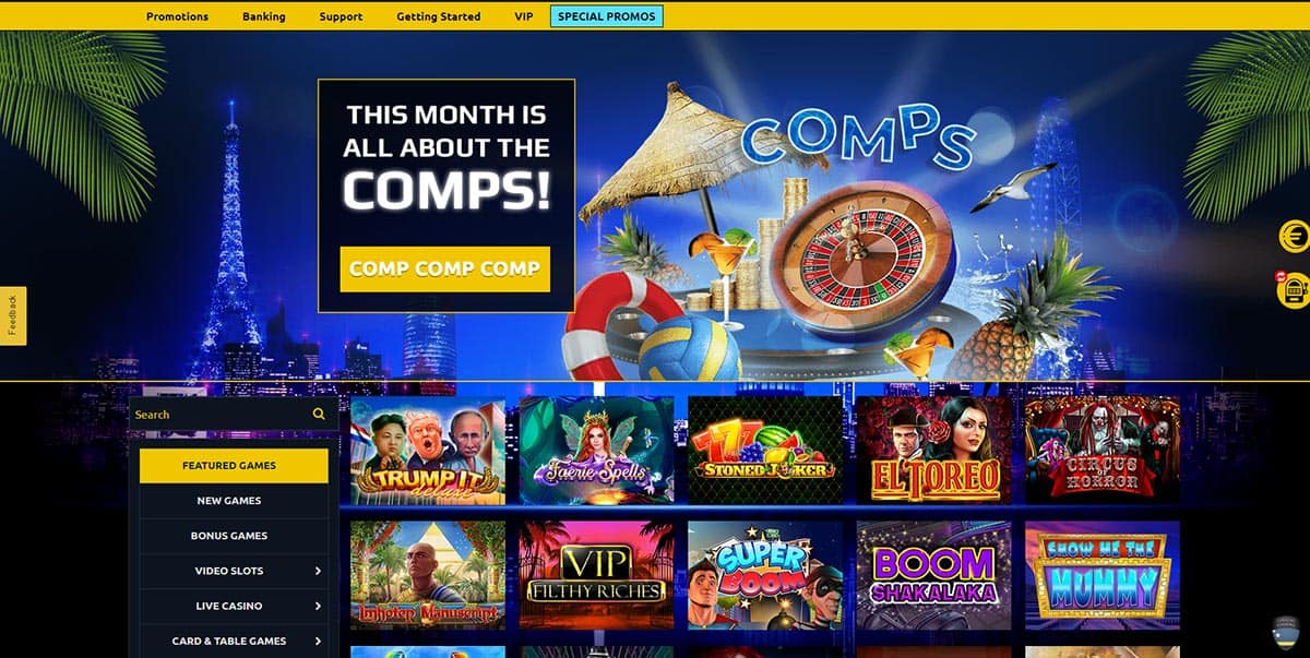 Euromoon Casino Home Page
