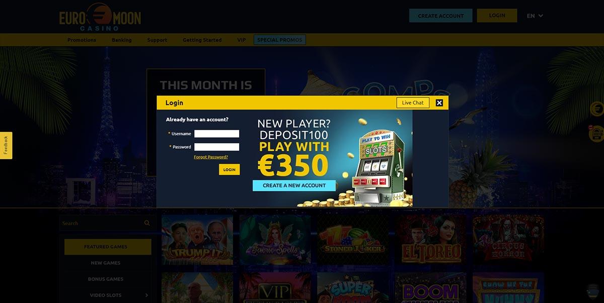 Euromoon Casino Login Page