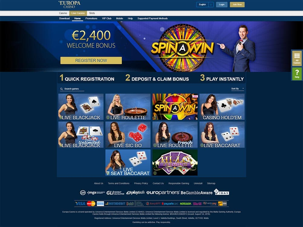 Europa Casino Live Casino Games