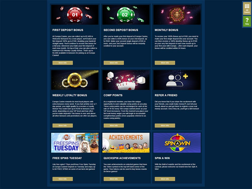 Europa Casino Promotions List