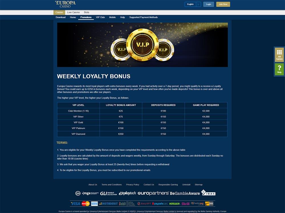 Europa Casino VIP Club Details