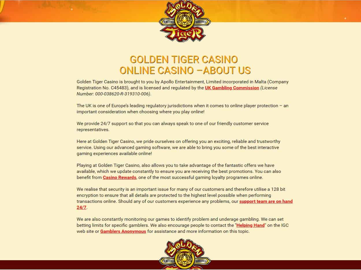 Golden Tiger Casino About Us