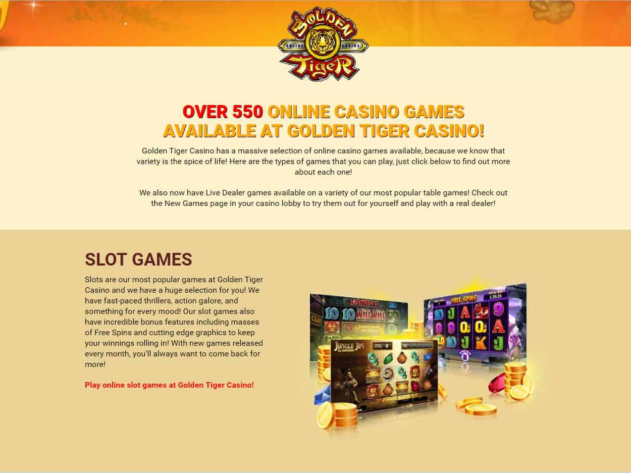 Golden Tiger Casino Games List