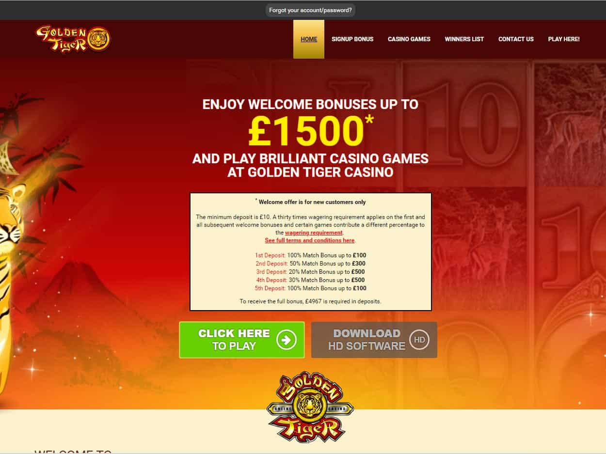 Golden Tiger Casino Home Page