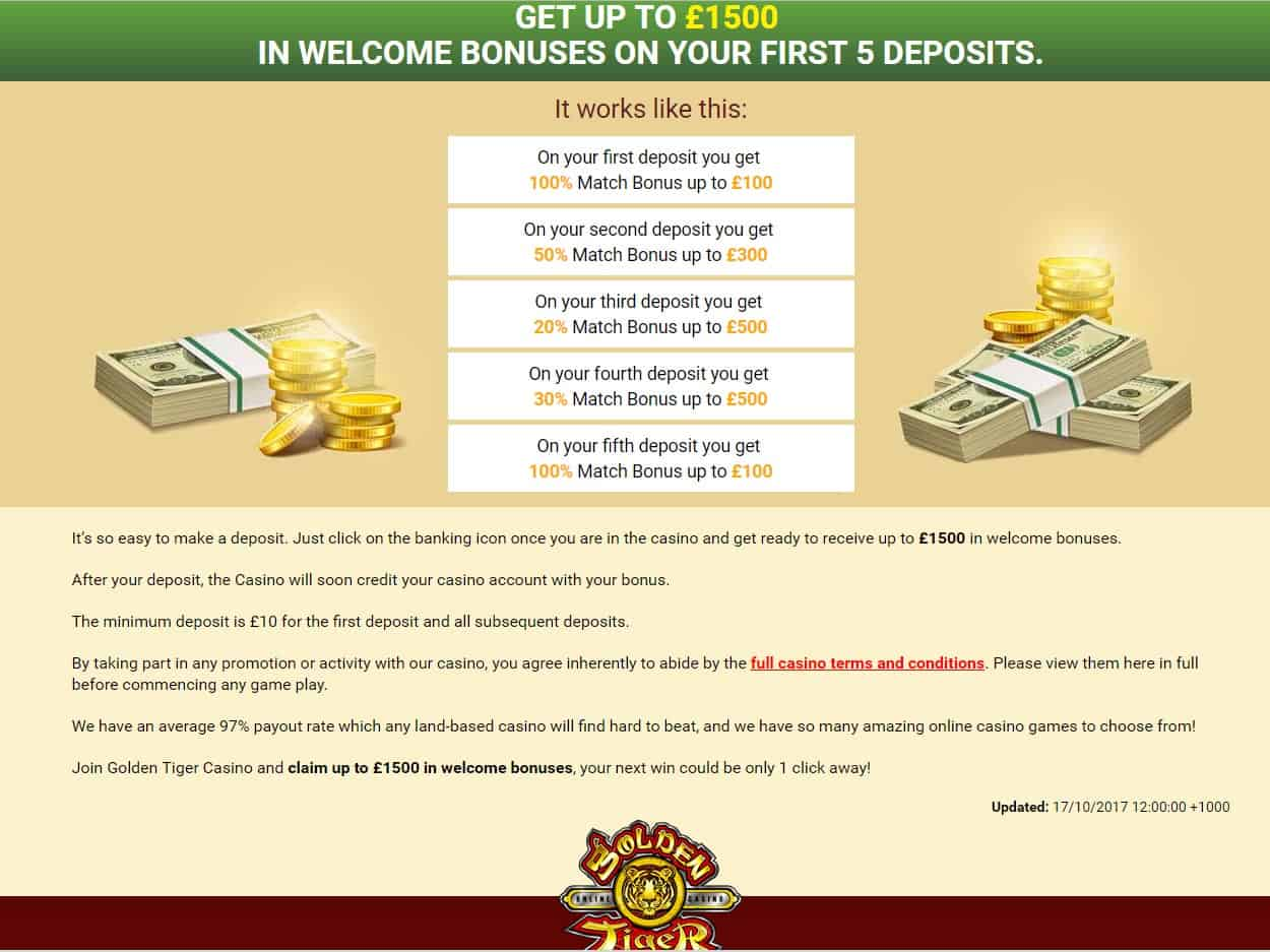 Golden Tiger Casino Welcome Bonus