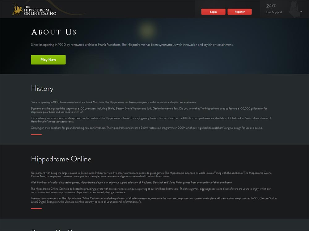 Hippodrome Online Casino History