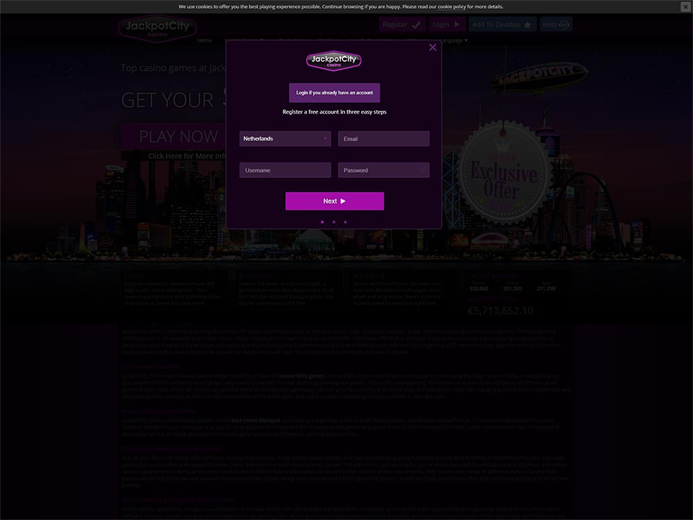 Jackpot City Casino Sign Up