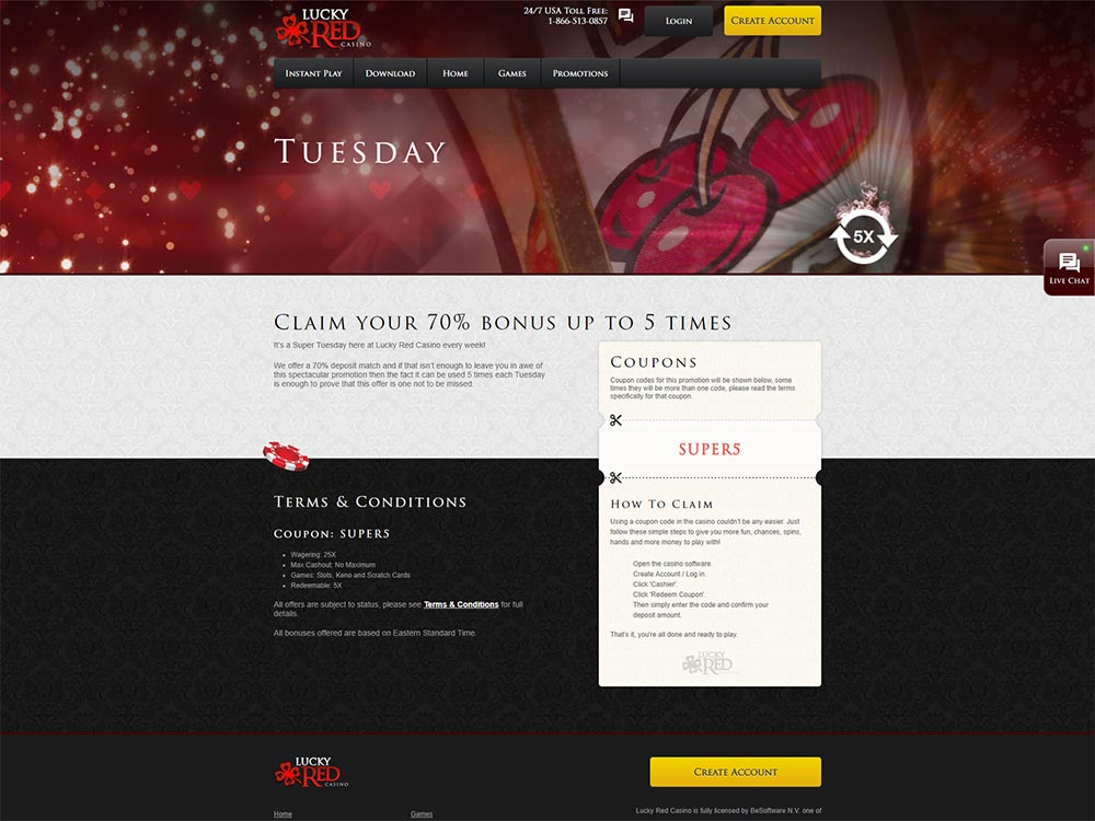 Lucky Red Casino Tuesday Promo Code