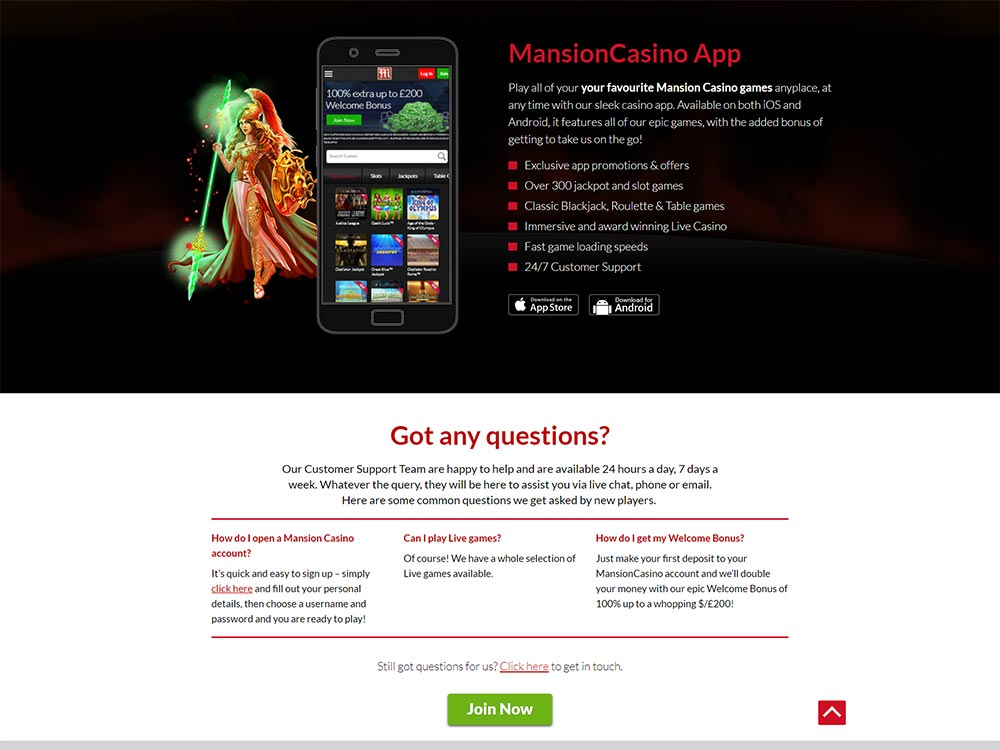 Mansion Casino Home Page