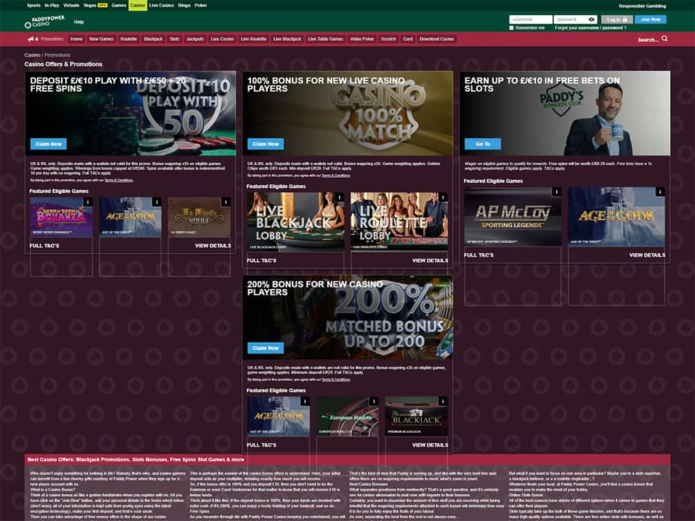 PaddyPower Casino Promotions