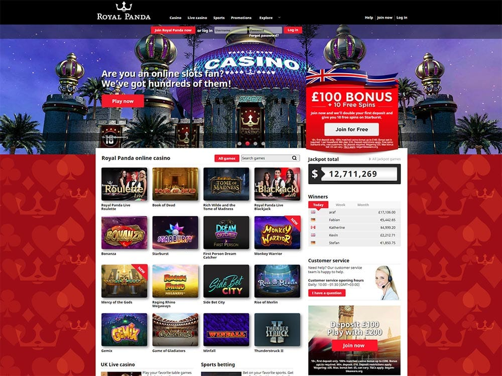 Royal Panda Casino Home Page