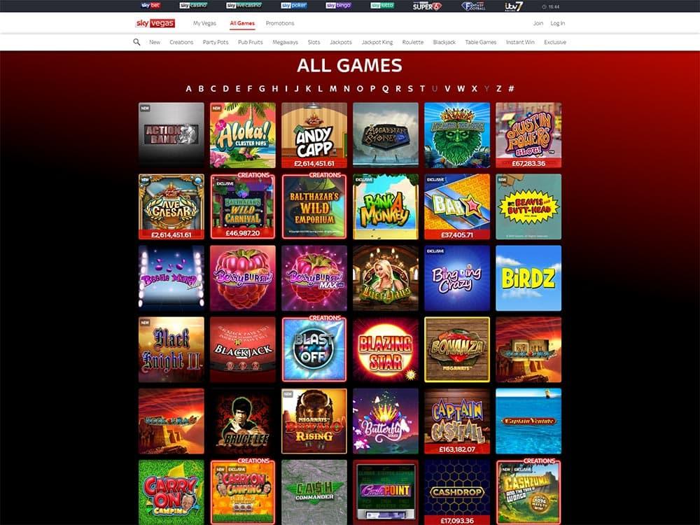 Sky Vegas Casino Games