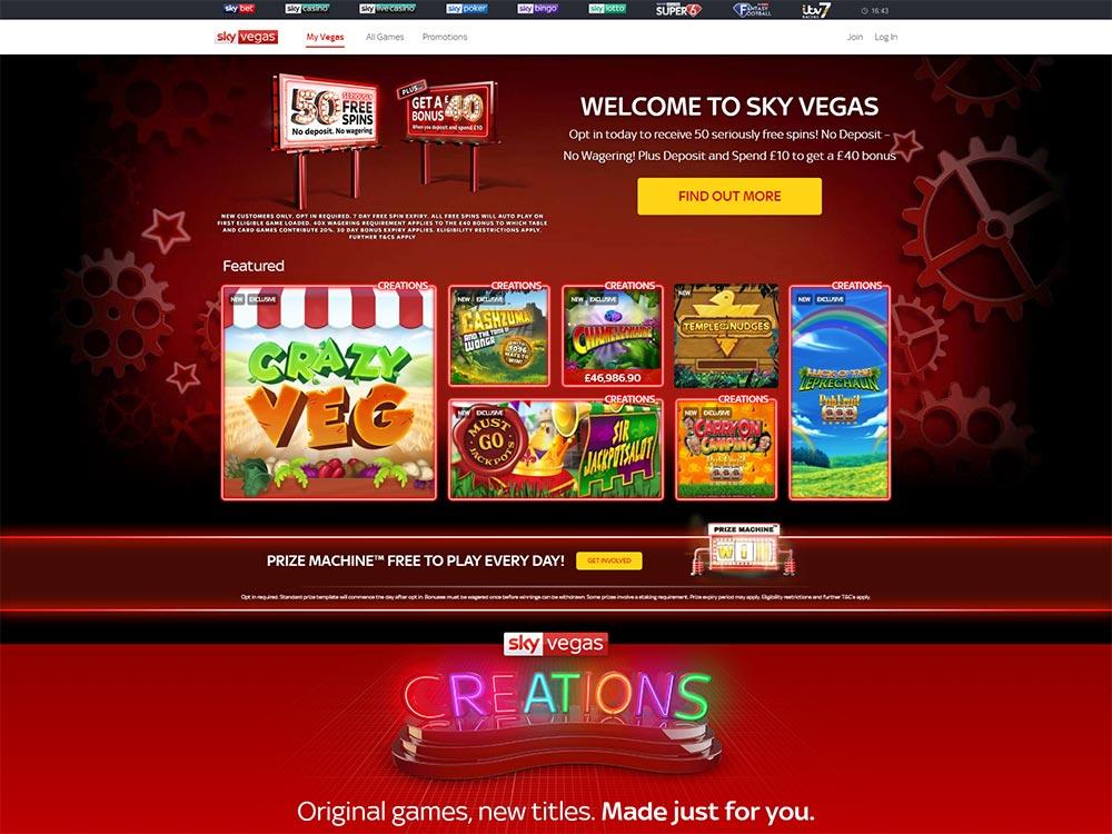 Sky Vegas Casino Home Page