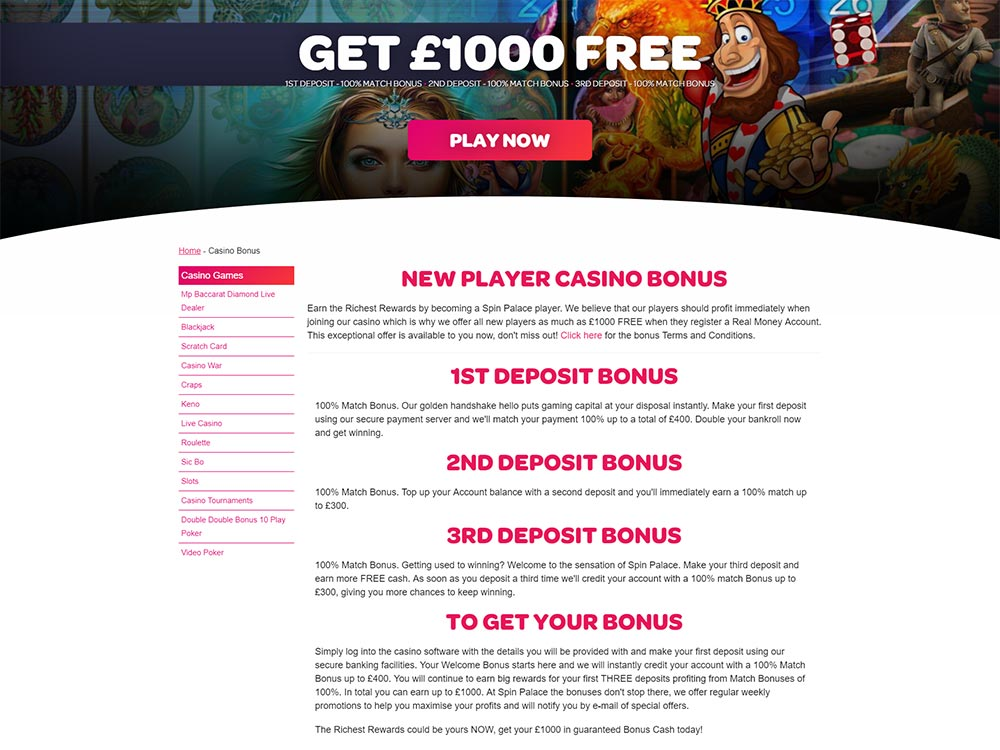 Spin Palace Casino Welcome Bonus Details