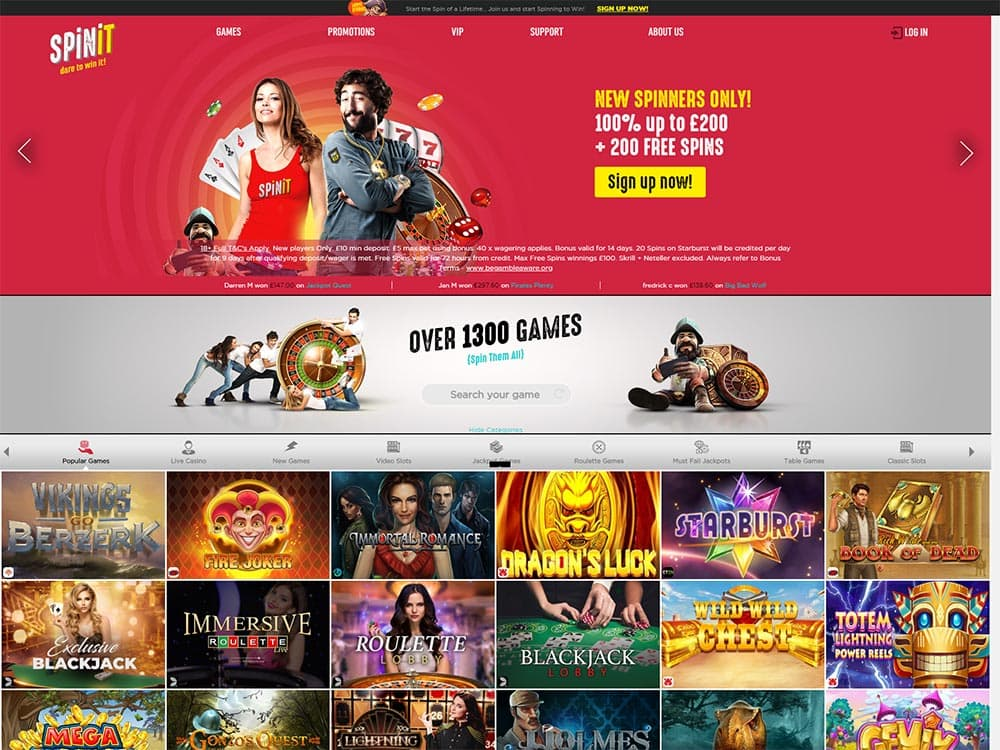 Spinit Casino Home Page