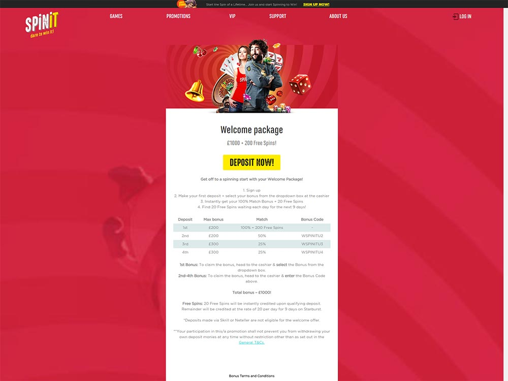 Spinit Casino Welcome Package