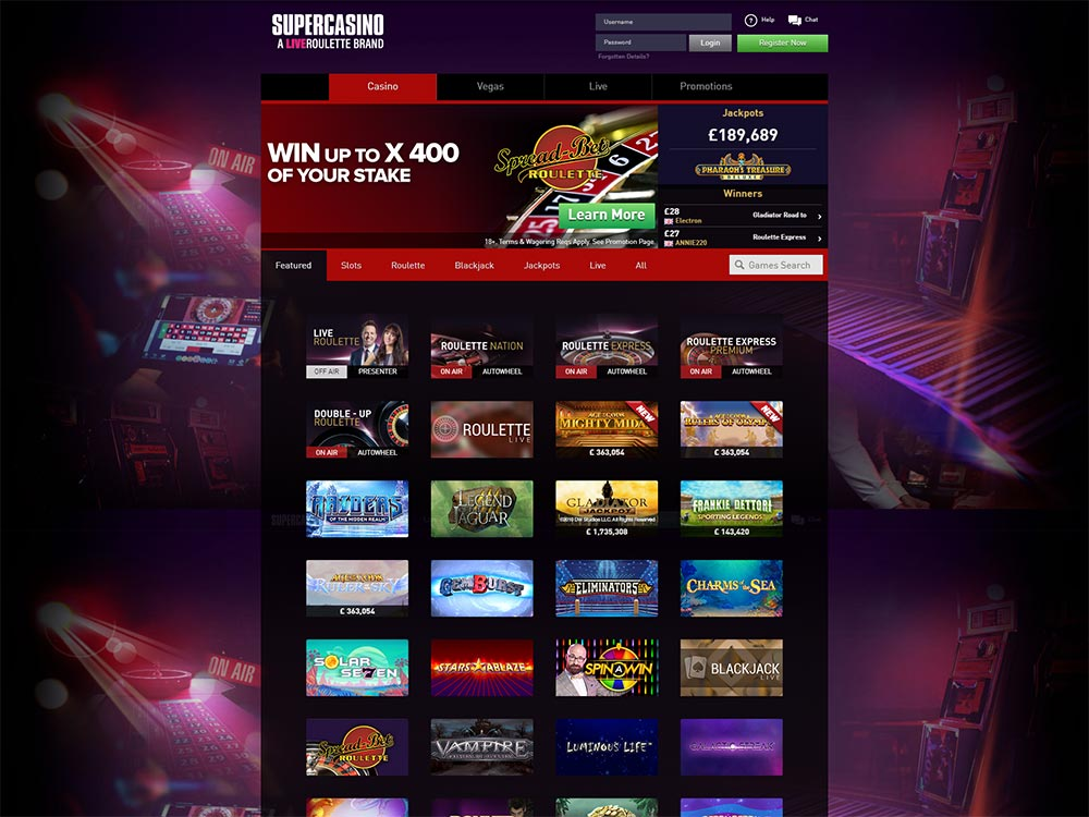 SuperCasino Home Page
