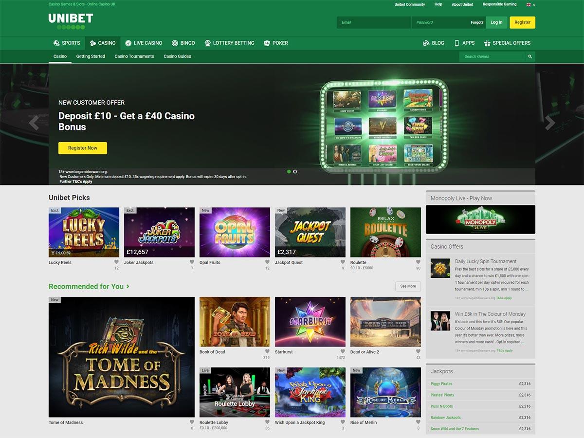 Unibet Casino Home Page