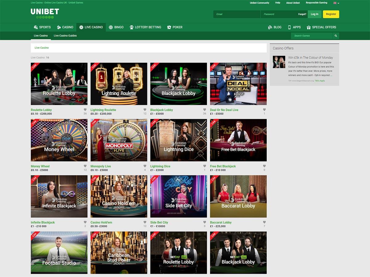 Unibet Casino Live Casino Page