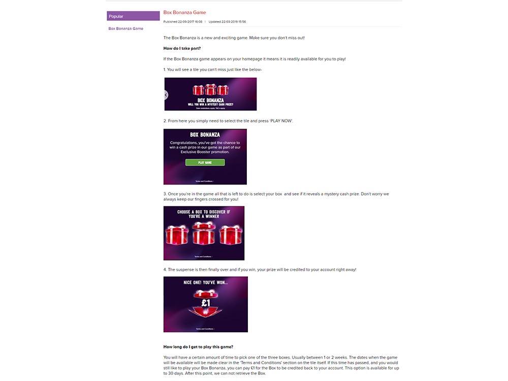 Virgin Games Casino Box Bonanza Game