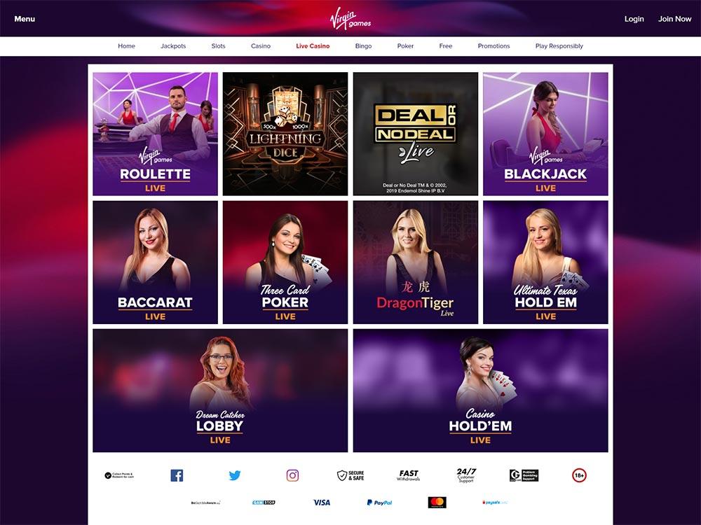 Virgin Games Casino Live Games