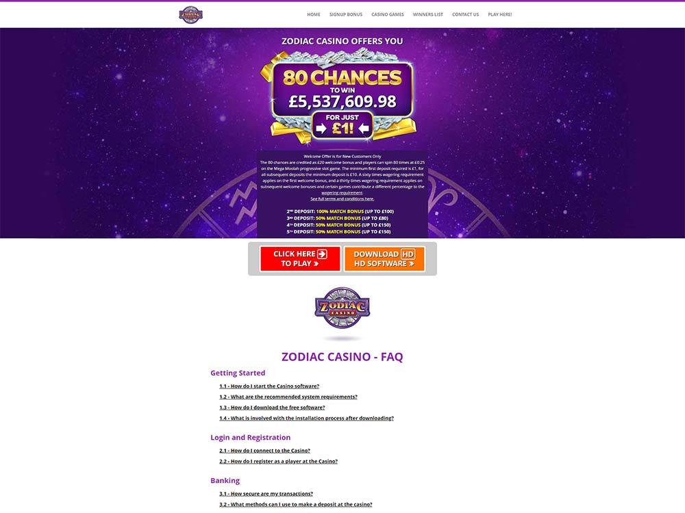 Zodiac Online Casino Login