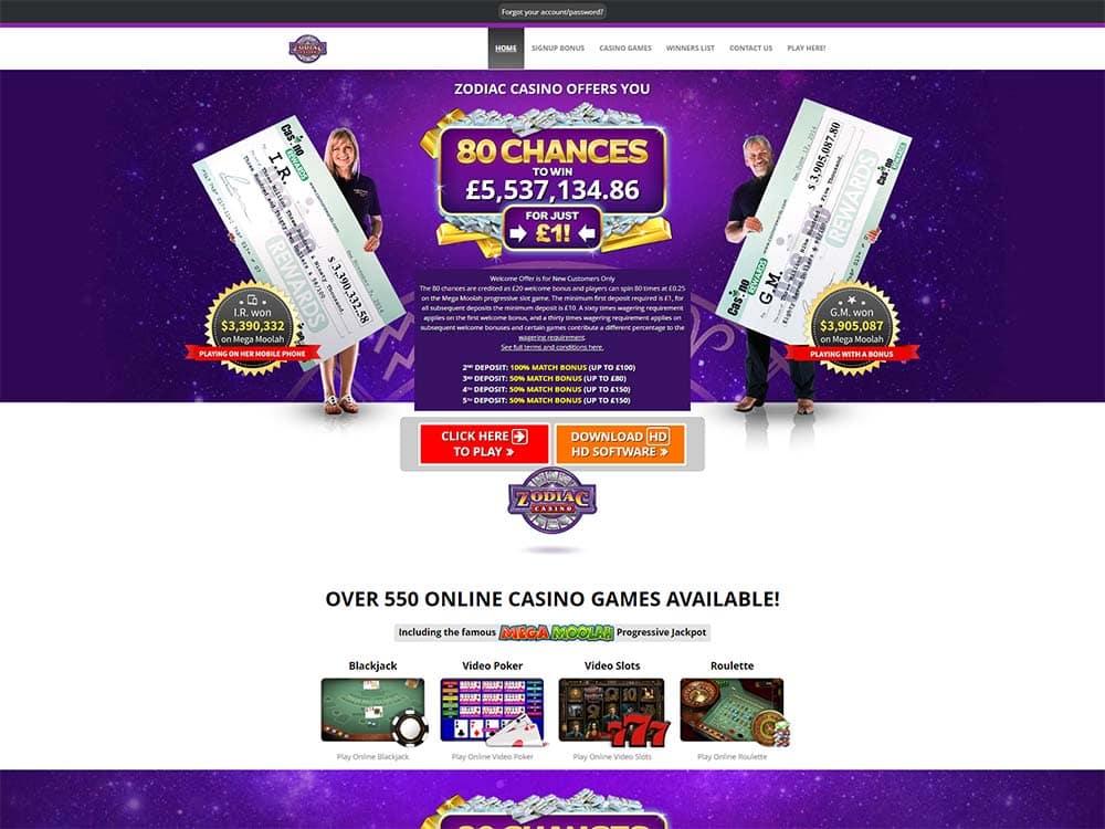 Zodiac Casino Home Page
